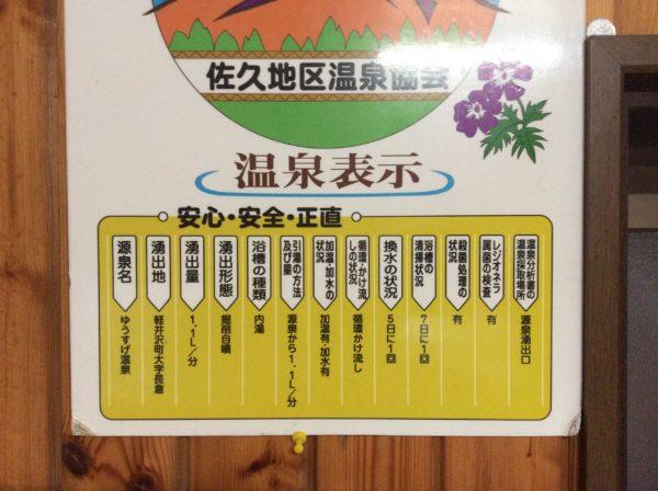 ゆうすげ温泉成分表